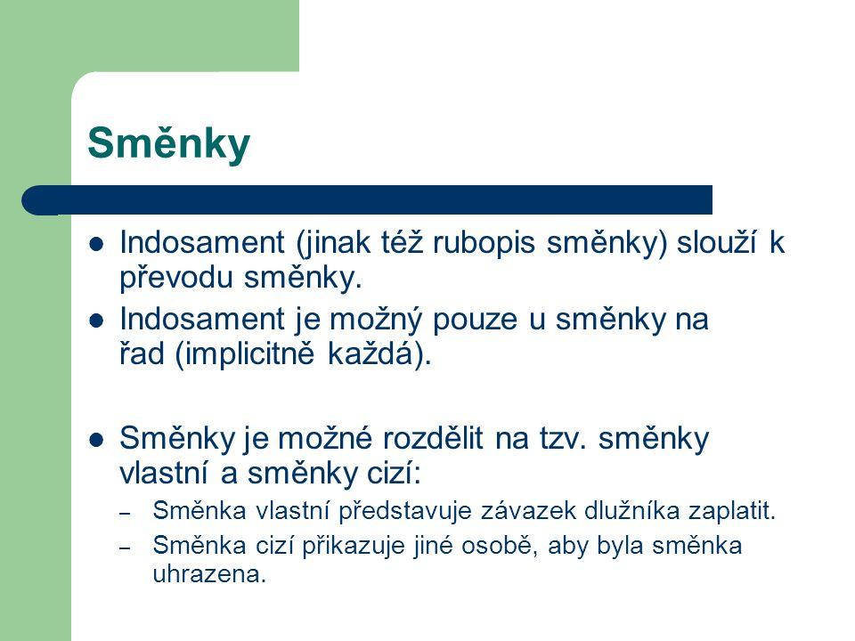 Směnky Indosament (jinak též rubopis směnky) slouží k převodu směnky. Indosament je možný pouze u směnky na řad (implicitně každá). Směnky je možné ro