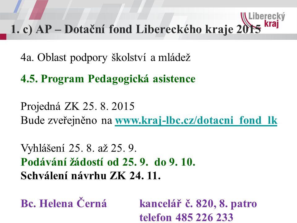 1.c) AP – Dotační fond Libereckého kraje 2015 4a. Oblast podpory školství a mládež 4.5. Program Pedagogická asistence Projedná ZK 25. 8. 2015 Bude zve
