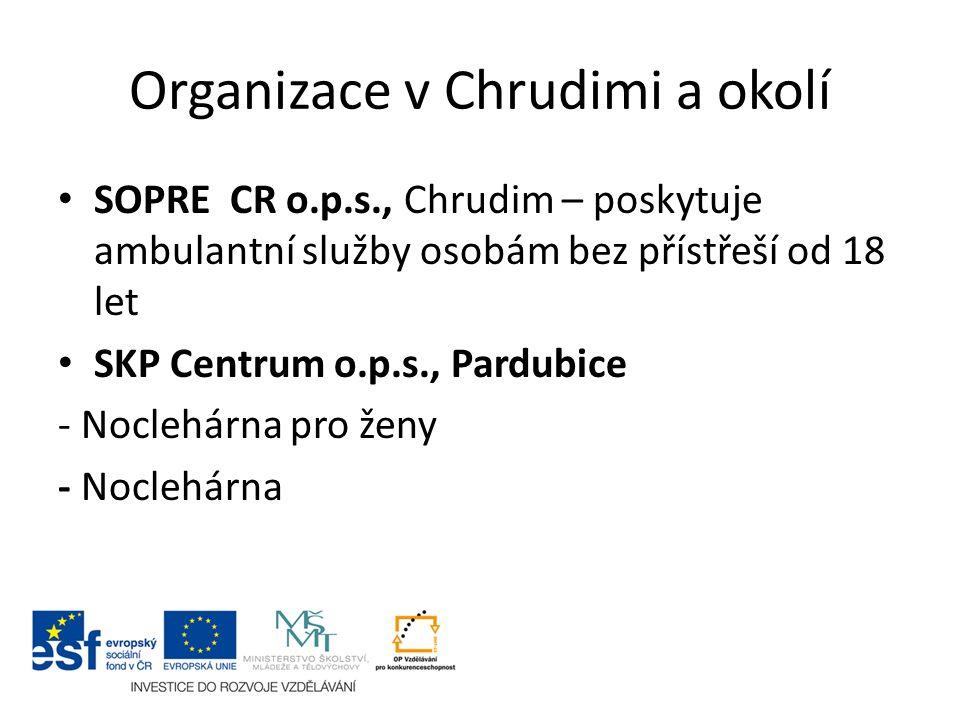 Organizace v Chrudimi a okolí SOPRE CR o.p.s., Chrudim – poskytuje ambulantní služby osobám bez přístřeší od 18 let SKP Centrum o.p.s., Pardubice - No