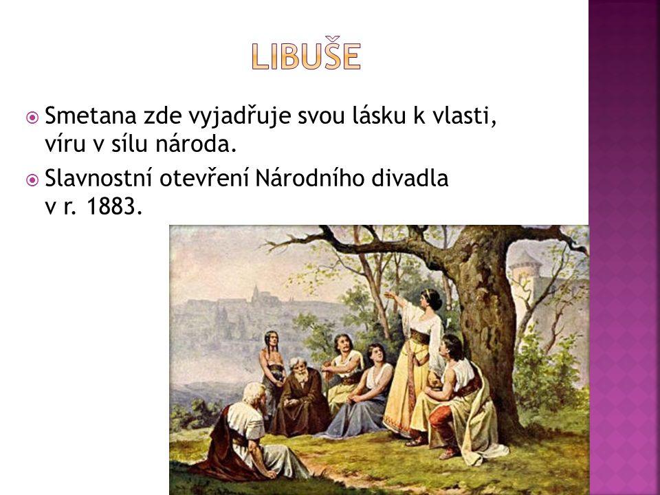  Smetana zde vyjadřuje svou lásku k vlasti, víru v sílu národa.