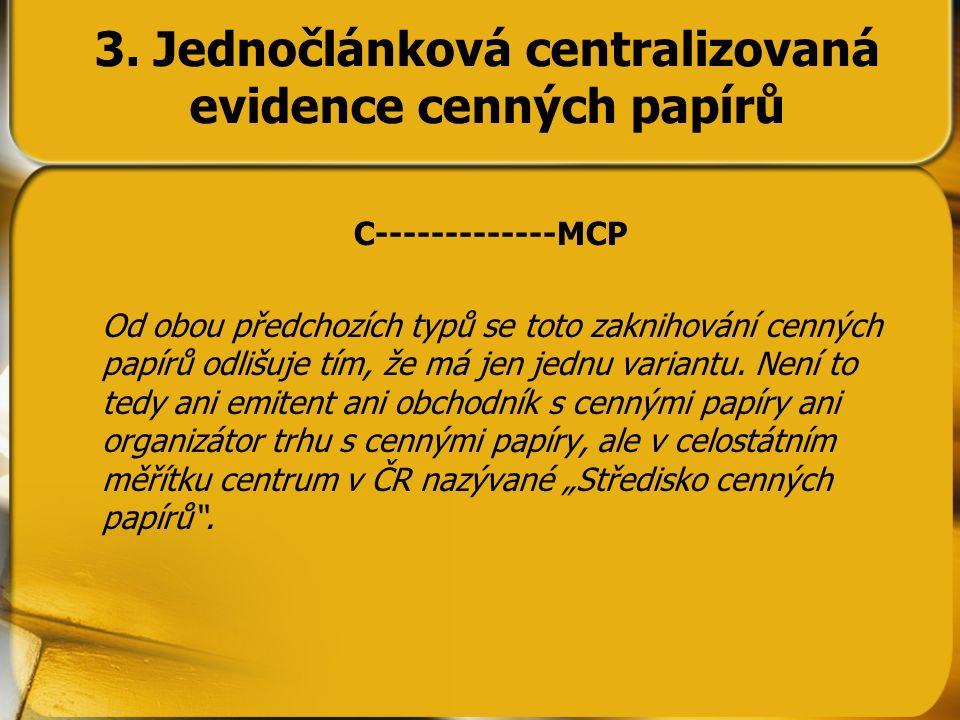 C-------------MCP Od obou předchozích typů se toto zaknihování cenných papírů odlišuje tím, že má jen jednu variantu. Není to tedy ani emitent ani obc