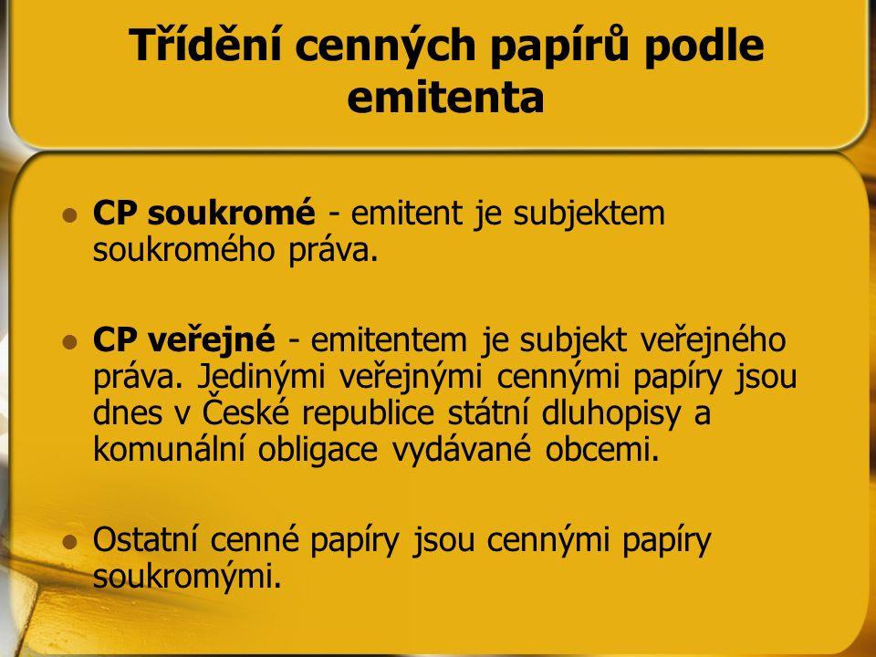 Třídění cenných papírů podle emitenta CP soukromé - emitent je subjektem soukromého práva. CP veřejné - emitentem je subjekt veřejného práva. Jedinými