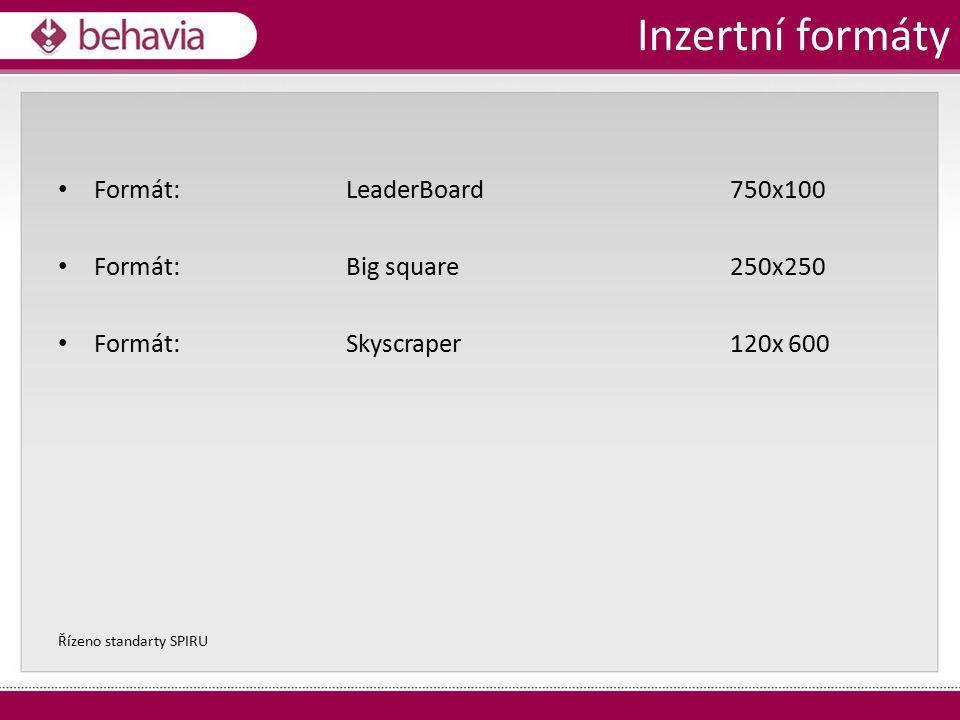 Formát: LeaderBoard 750x100 Formát: Big square 250x250 Formát: Skyscraper 120x 600 Řízeno standarty SPIRU Inzertní formáty