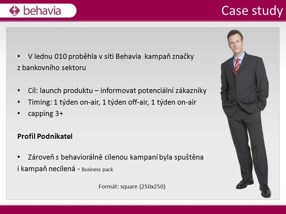 V lednu 010 proběhla v síti Behavia kampaň značky z bankovního sektoru Cíl: launch produktu – informovat potenciální zákazníky Timing: 1 týden on-air, 1 týden off-air, 1 týden on-air capping 3+ Profil Podnikatel Zároveň s behaviorálně cílenou kampaní byla spuštěna i kampaň necílená - Business pack Case study Formát: square (250x250)