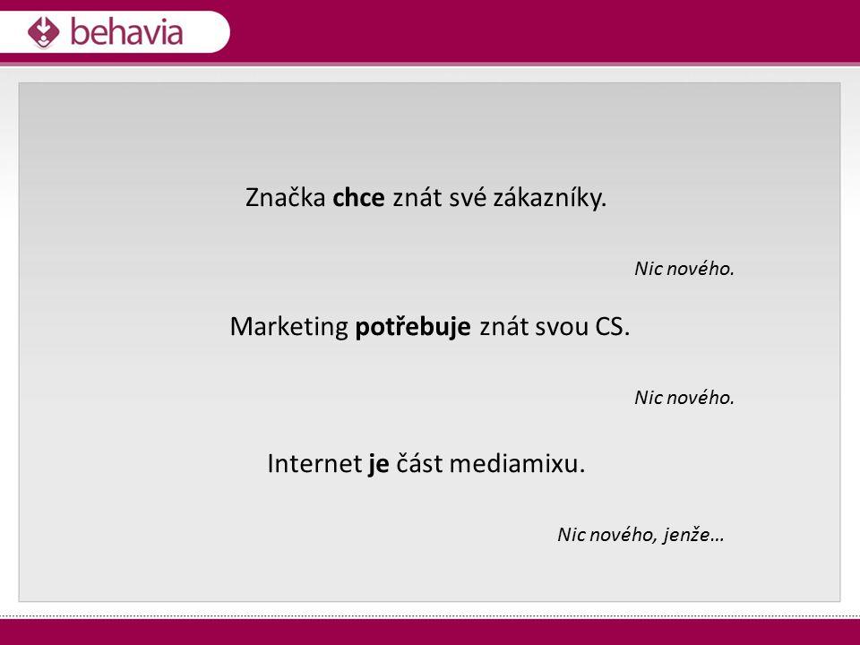 Značka chce znát své zákazníky. Nic nového. Marketing potřebuje znát svou CS. Nic nového. Internet je část mediamixu. Nic nového, jenže…
