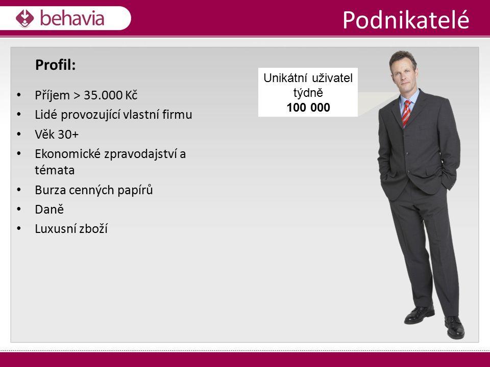 Podnikatelé Příjem > 35.000 Kč Lidé provozující vlastní firmu Věk 30+ Ekonomické zpravodajství a témata Burza cenných papírů Daně Luxusní zboží Profil