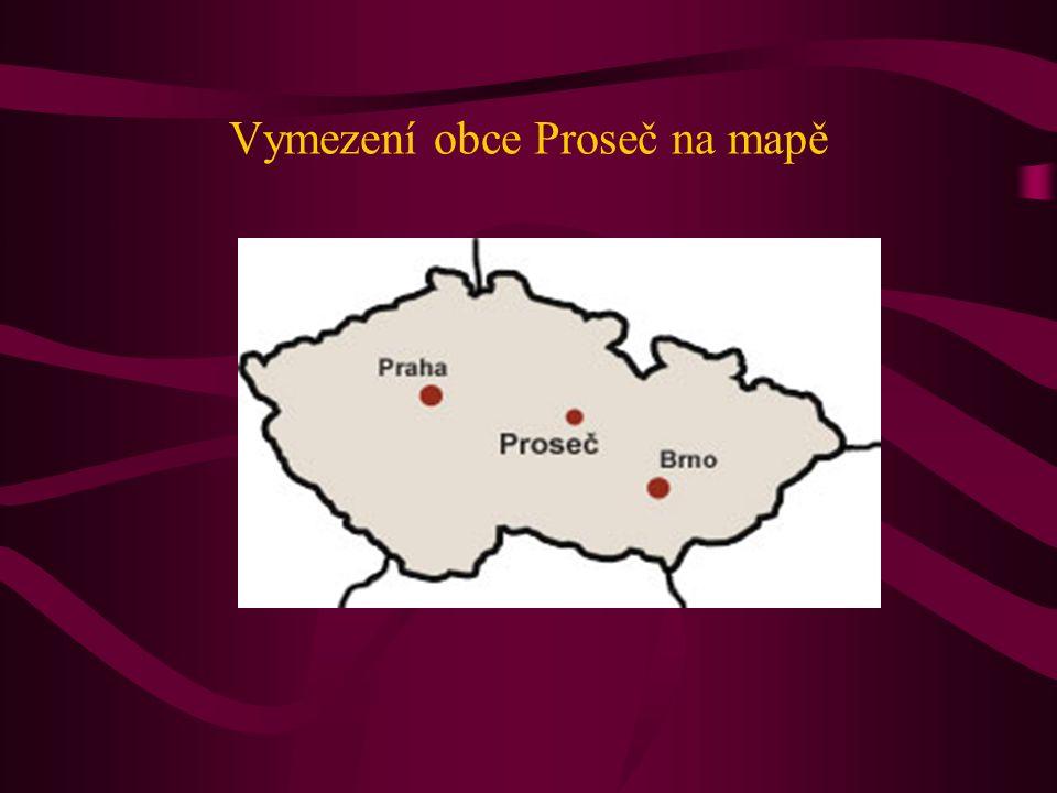 Vymezení obce Proseč na mapě
