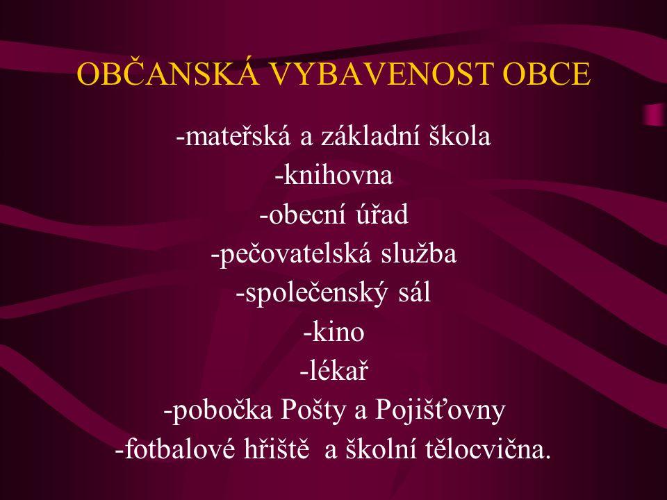 OBČANSKÁ VYBAVENOST OBCE -mateřská a základní škola -knihovna -obecní úřad -pečovatelská služba -společenský sál -kino -lékař -pobočka Pošty a Pojišťovny -fotbalové hřiště a školní tělocvična.