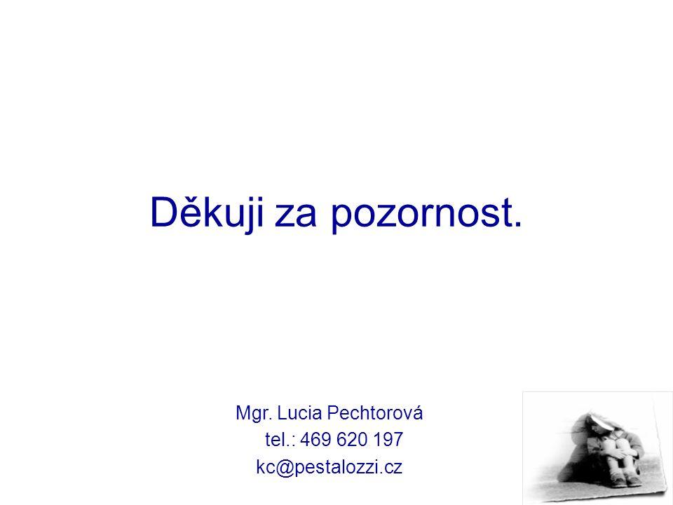 Děkuji za pozornost. Mgr. Lucia Pechtorová tel.: 469 620 197 kc@pestalozzi.cz