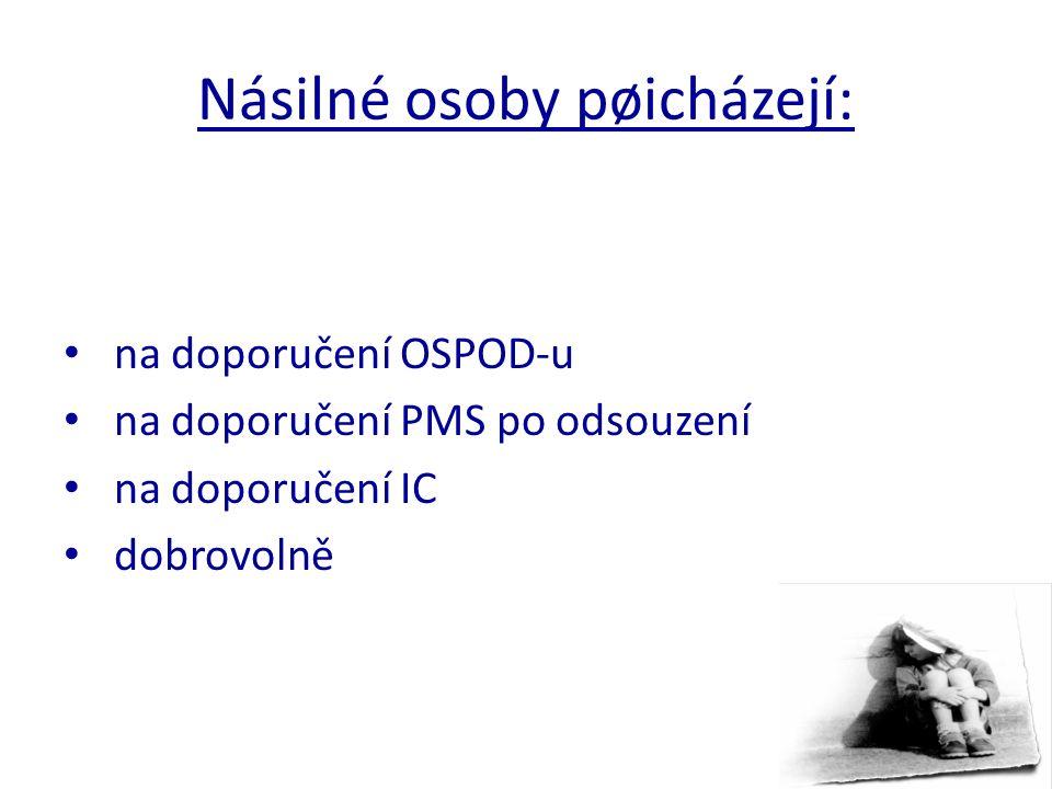 Násilné osoby pøicházejí: na doporučení OSPOD-u na doporučení PMS po odsouzení na doporučení IC dobrovolně