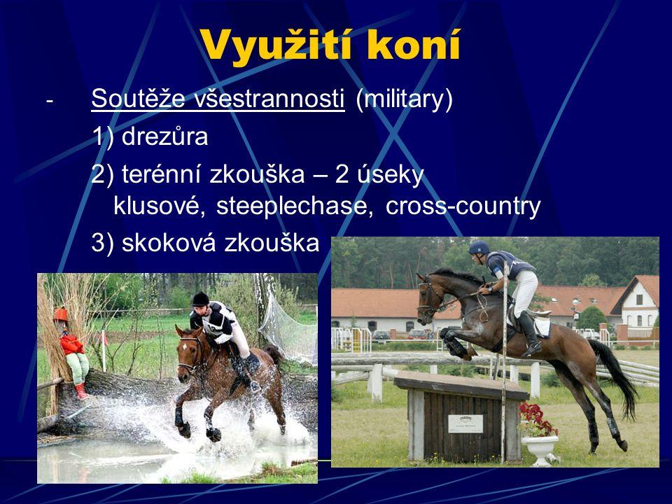 Využití koní - Soutěže všestrannosti (military) 1) drezůra 2) terénní zkouška – 2 úseky klusové, steeplechase, cross-country 3) skoková zkouška