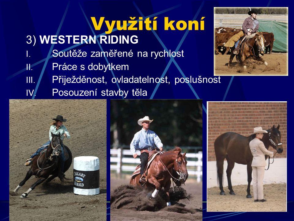 Využití koní 3) WESTERN RIDING I. Soutěže zaměřené na rychlost II. Práce s dobytkem III. Přiježděnost, ovladatelnost, poslušnost IV. Posouzení stavby