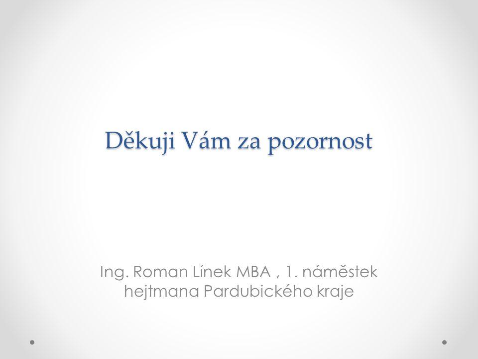 Děkuji Vám za pozornost Ing. Roman Línek MBA, 1. náměstek hejtmana Pardubického kraje