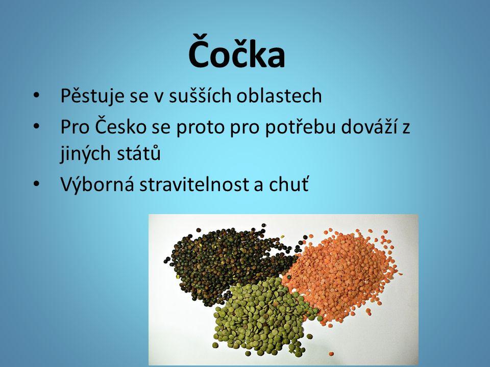 Čočka Pěstuje se v sušších oblastech Pro Česko se proto pro potřebu dováží z jiných států Výborná stravitelnost a chuť