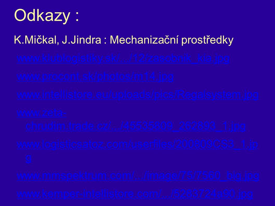 Odkazy : K.Mičkal, J.Jindra : Mechanizační prostředky www.klublogistiky.sk/.../12/zasobnik_kia.jpg www.procont.sk/photos/m14.jpg www.intellistore.eu/uploads/pics/Regalsystem.jpg www.zeta- chrudim.trade.cz/.../45535809_262893_1.jpg www.logisticsatoz.com/userfiles/200809CS3_1.jp g www.mmspektrum.com/.../image/75/7560_big.jpg www.kemper-intellistore.com/.../5283724a90.jpg www.ekps.cz/sekce/sklady_rz.jpg