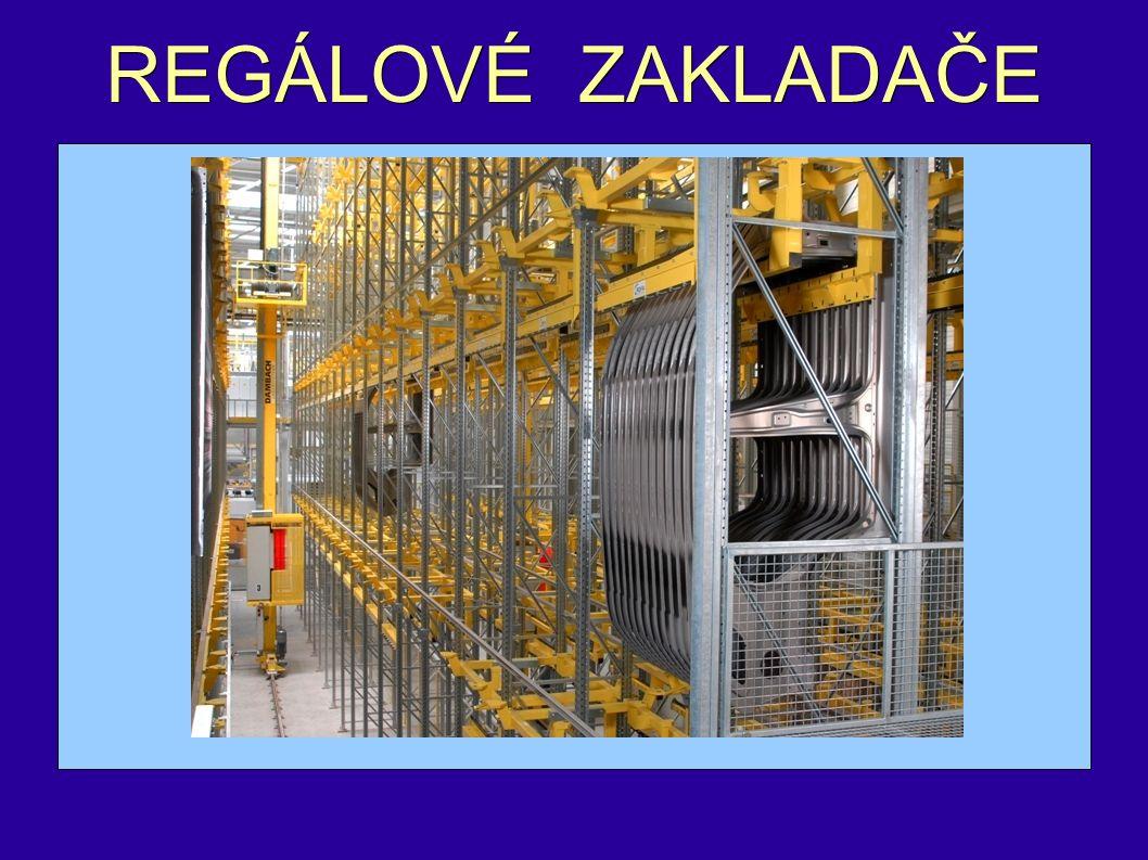 - jsou skladovacím zařízením, které zajišťuje obsluhu regálů v úzkých manipulačních uličkách - navazují na stohovací jeřáby - jejich pojezdová dráha je vymezena regálovou uličkou ( zvýšení provozních rychlostí, přesnější navádění a snadnější uplatnění automatizačních prvků v řízení)