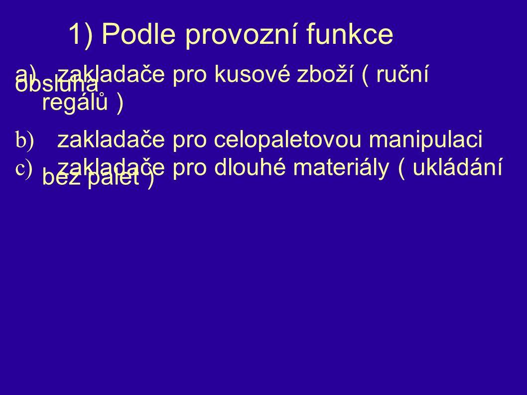 1) Podle provozní funkce a)zakladače pro kusové zboží ( ruční obsluha regálů ) b) zakladače pro celopaletovou manipulaci c) zakladače pro dlouhé materiály ( ukládání bez palet )