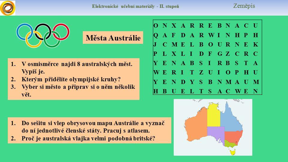 Elektronické učební materiály - II. stupeň Zeměpis 1.V osmisměrce najdi 8 australských měst.