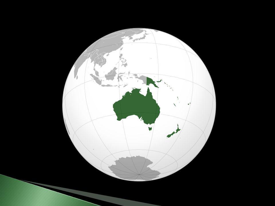  Zeměpisná a kulturní oblast  Austrálie tvoří samostatný kontinent  Rozloha: 8 513 328 km²  Počet obyvatel: 34,0 miliónů  Nejvyšší vrchol: Puncak Jaya, Nová Guinea  Největší řeka: Murray, Austrálie  Největší jezero: Eyre, Austrálie