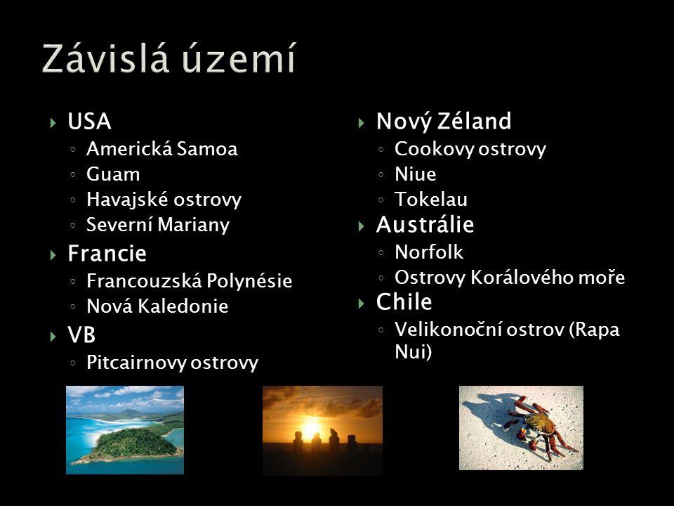  USA ◦ Americká Samoa ◦ Guam ◦ Havajské ostrovy ◦ Severní Mariany  Francie ◦ Francouzská Polynésie ◦ Nová Kaledonie  VB ◦ Pitcairnovy ostrovy  Nový Zéland ◦ Cookovy ostrovy ◦ Niue ◦ Tokelau  Austrálie ◦ Norfolk ◦ Ostrovy Korálového moře  Chile ◦ Velikonoční ostrov (Rapa Nui)
