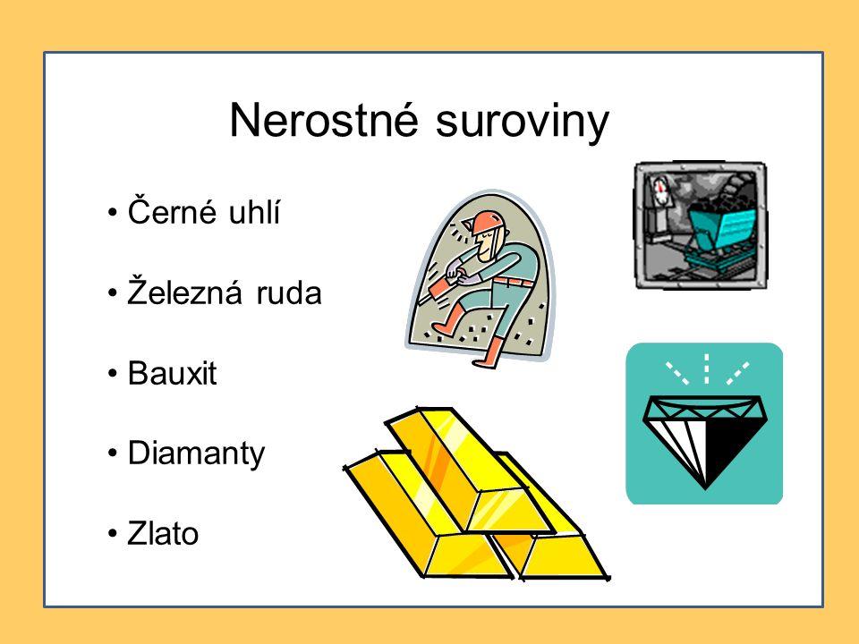 Nerostné suroviny Černé uhlí Železná ruda Bauxit Diamanty Zlato