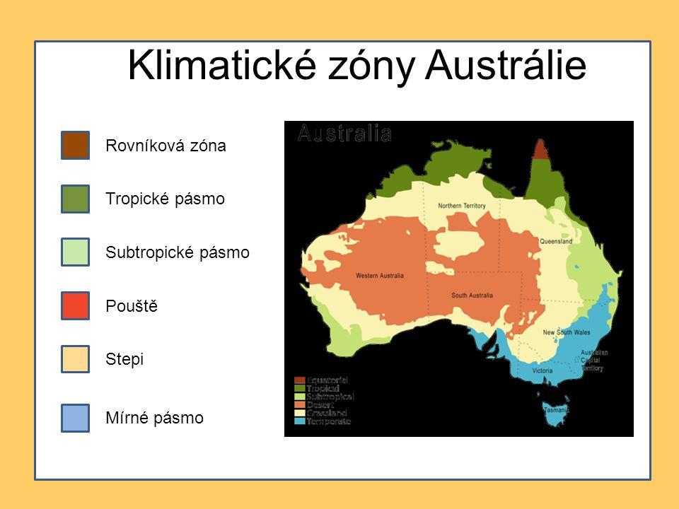 Klimatické zóny Austrálie Rovníková zóna Tropické pásmo Subtropické pásmo Pouště Mírné pásmo Stepi