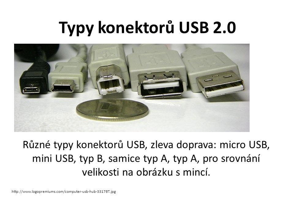 Typy konektorů USB 2.0 Různé typy konektorů USB, zleva doprava: micro USB, mini USB, typ B, samice typ A, typ A, pro srovnání velikosti na obrázku s mincí.