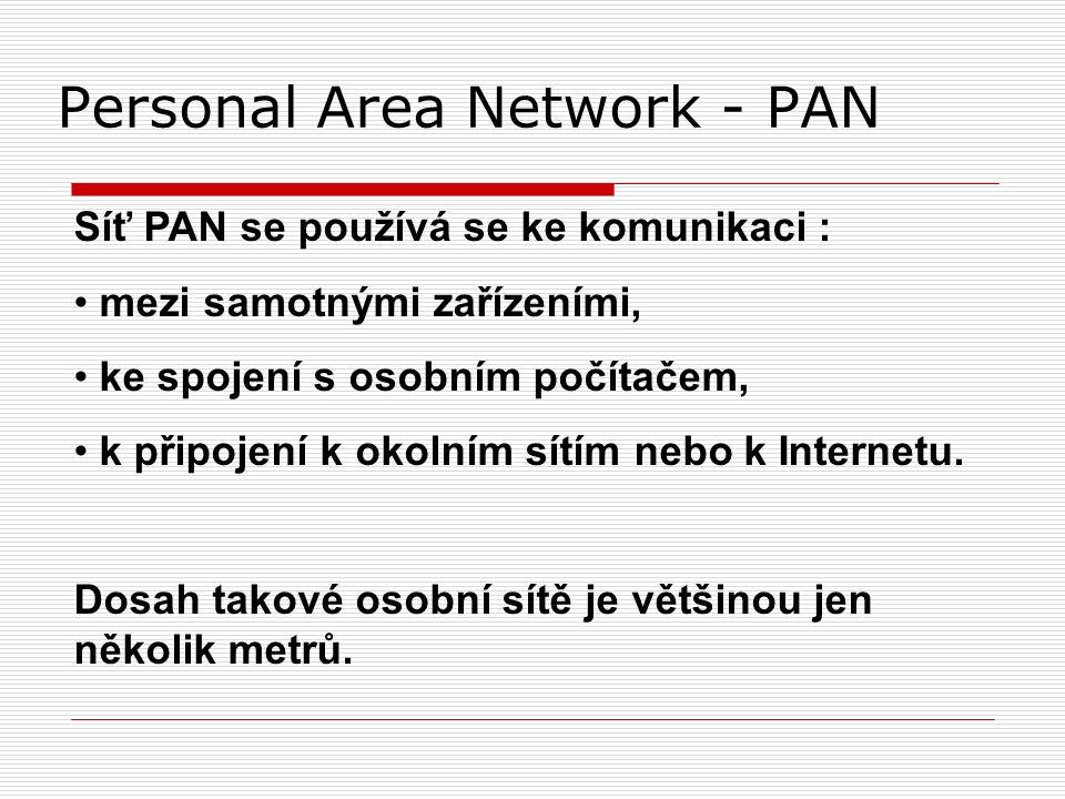Personal Area Network - PAN Síť PAN se používá se ke komunikaci : mezi samotnými zařízeními, ke spojení s osobním počítačem, k připojení k okolním sítím nebo k Internetu.