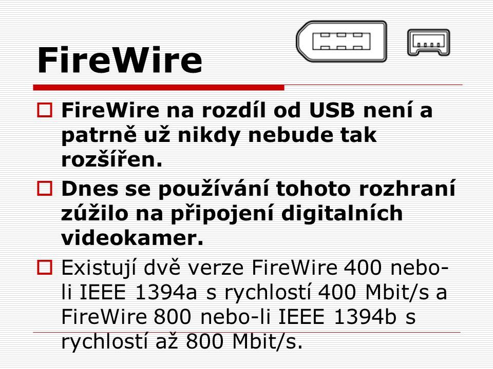 FireWire  FireWire na rozdíl od USB není a patrně už nikdy nebude tak rozšířen.
