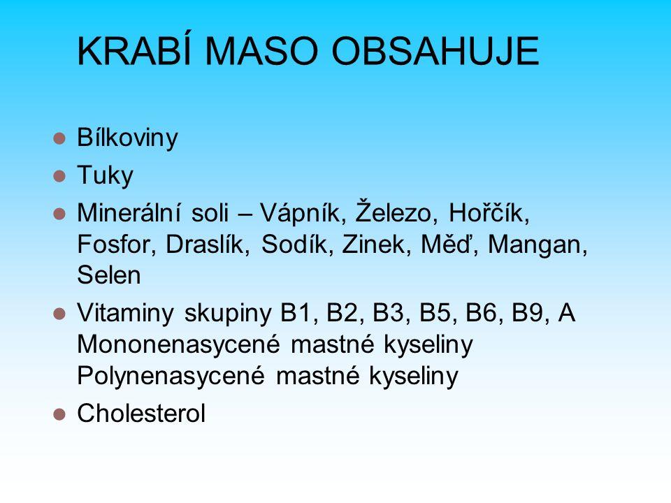 KRABÍ MASO OBSAHUJE Bílkoviny Tuky Minerální soli – Vápník, Železo, Hořčík, Fosfor, Draslík, Sodík, Zinek, Měď, Mangan, Selen Vitaminy skupiny B1, B2, B3, B5, B6, B9, A Mononenasycené mastné kyseliny Polynenasycené mastné kyseliny Cholesterol