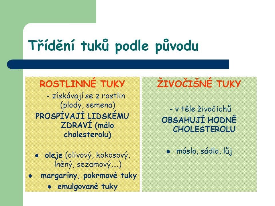 Třídění tuků podle původu ROSTLINNÉ TUKY - získávají se z rostlin (plody, semena) PROSPÍVAJÍ LIDSKÉMU ZDRAVÍ (málo cholesterolu) oleje (olivový, kokosový, lněný, sezamový,…) margaríny, pokrmové tuky emulgované tuky ŽIVOČIŠNÉ TUKY - v těle živočichů OBSAHUJÍ HODNĚ CHOLESTEROLU máslo, sádlo, lůj