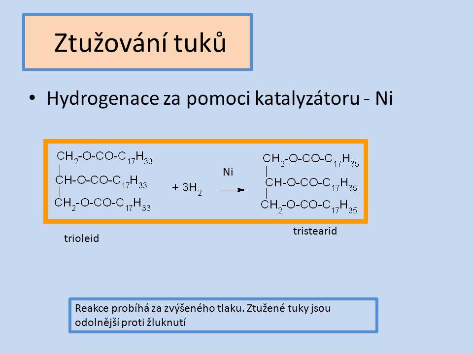 Ztužování tuků Hydrogenace za pomoci katalyzátoru - Ni trioleid tristearid Reakce probíhá za zvýšeného tlaku.
