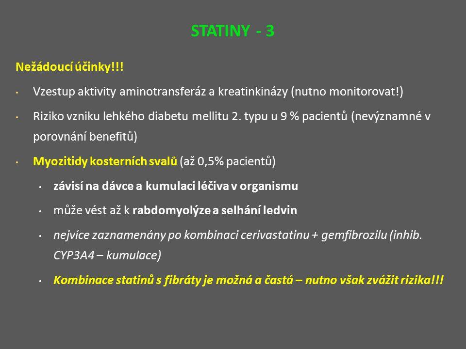 KYSELINA NIKOTINOVÁ (niacin) a její deriváty – acipimox, xantinol nikotinát MÚ: snížení syntézy TAG (až o 60 %) – ne plně objasněn inhibice sekrece VLDL z jater → snížení VLDL a následně i LDL, snižuje clearance HDL FK: rozpustné ve vodě, metabolizace v játrech, exkrece ledvinami NÚ: typický rash fenomén kožní zarudnutí a pruritus – později vymizí (subjektivní pocity horka lze zmírnit podáním kys.