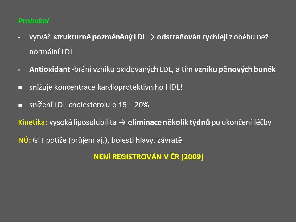 Probukol vytváří strukturně pozměněný LDL → odstraňován rychleji z oběhu než normální LDL Antioxidant -brání vzniku oxidovaných LDL, a tím vzniku pěnových buněk snižuje koncentrace kardioprotektivního HDL.