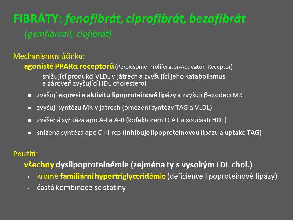 FIBRÁTY: fenofibrát, ciprofibrát, bezafibrát (gemfibrozil, clofibrát) Mechanismus účinku: agonisté PPARα receptorů (Peroxisome Proliferator-Activator Receptor) snižující produkci VLDL v játrech a zvyšující jeho katabolismus a zároveň zvyšující HDL cholesterol zvyšují expresi a aktivitu lipoproteinové lipázy a zvyšují β-oxidaci MK zvyšují syntézu MK v játrech (omezení syntézy TAG a VLDL) zvýšená syntéza apo A-I a A-II (kofaktorem LCAT a součástí HDL) snížená syntéza apo C-III rcp (inhibuje lipoproteinovou lipázu a uptake TAG) Použití: všechny dyslipoproteinémie (zejména ty s vysokým LDL chol.) kromě familiární hypertriglyceridémie (deficience lipoproteinové lipázy) častá kombinace se statiny