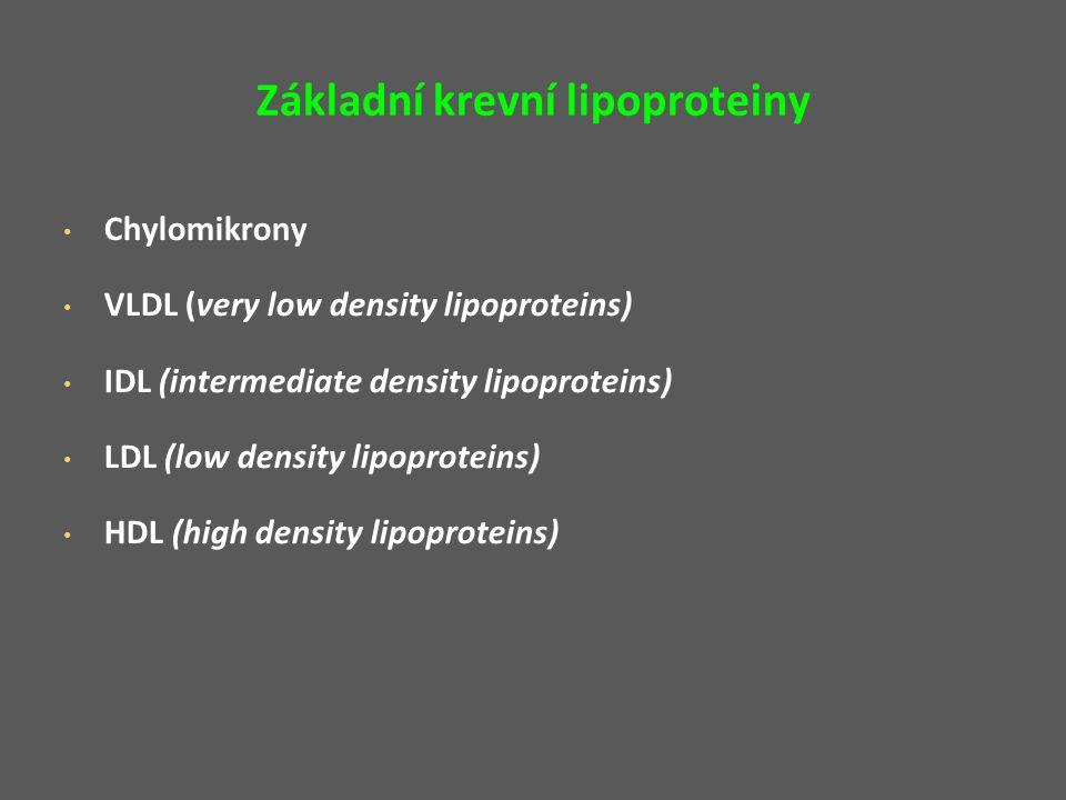 Základní krevní lipoproteiny Chylomikrony VLDL (very low density lipoproteins) IDL (intermediate density lipoproteins) LDL (low density lipoproteins) HDL (high density lipoproteins)