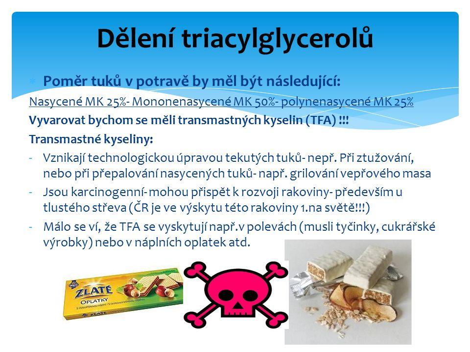  Poměr tuků v potravě by měl být následující: Nasycené MK 25%- Mononenasycené MK 50%- polynenasycené MK 25% Vyvarovat bychom se měli transmastných kyselin (TFA) !!.