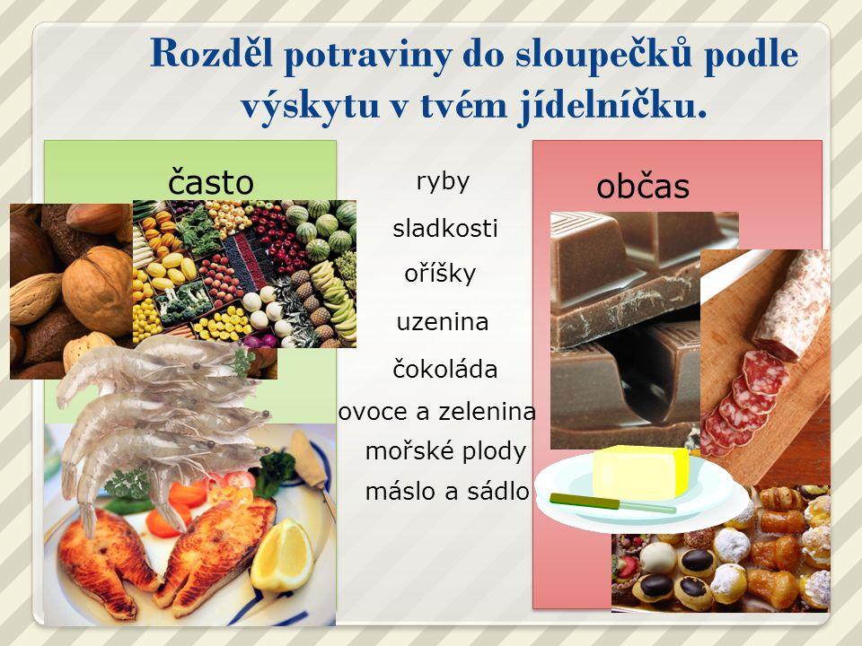 Rozd ě l potraviny do sloupe č k ů podle výskytu v tvém jídelní č ku.