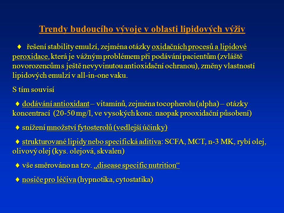 Trendy budoucího vývoje v oblasti lipidových výživ  řešení stability emulzí, zejména otázky oxidačních procesů a lipidové peroxidace, která je vážným problémem při podávání pacientům (zvláště novorozencům s ještě nevyvinutou antioxidační ochranou), změny vlastností lipidových emulzí v all-in-one vaku.