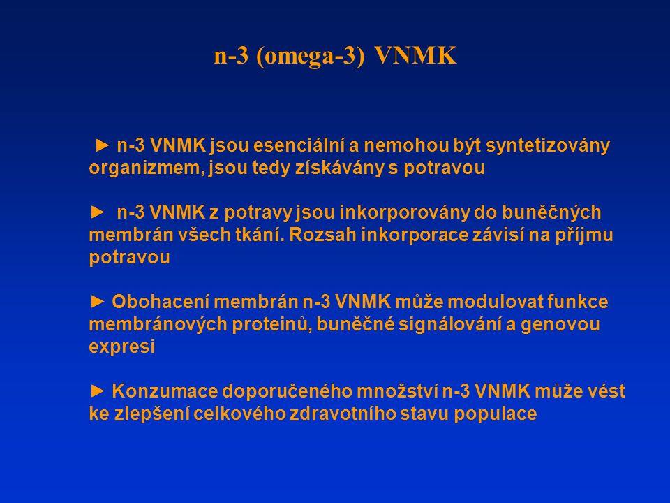 ► n-3 VNMK jsou esenciální a nemohou být syntetizovány organizmem, jsou tedy získávány s potravou ► n-3 VNMK z potravy jsou inkorporovány do buněčných membrán všech tkání.