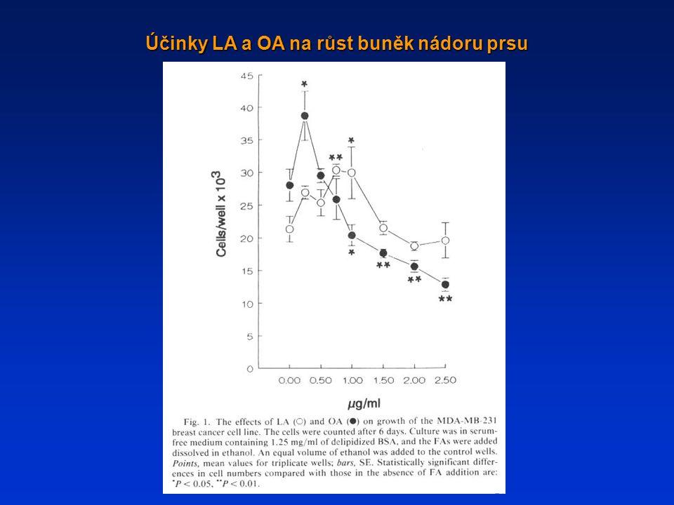 Účinky LA a OA na růst buněk nádoru prsu