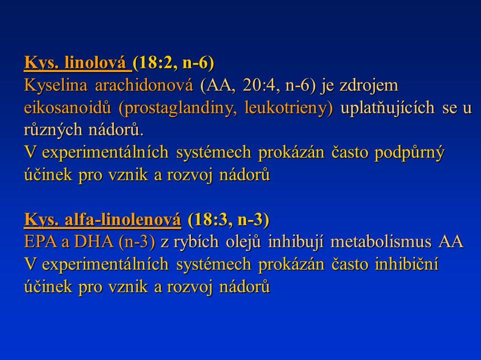 Kys. linolová (18:2, n-6) Kyselina arachidonová (AA, 20:4, n-6) je zdrojem eikosanoidů (prostaglandiny, leukotrieny) uplatňujících se u různých nádorů