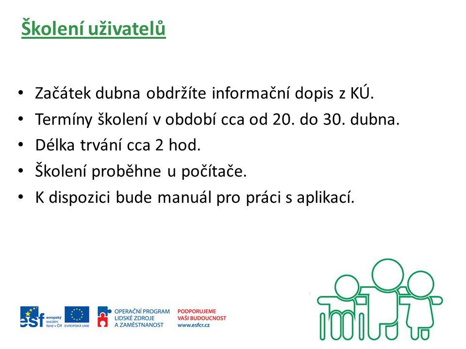 Školení uživatelů Začátek dubna obdržíte informační dopis z KÚ.