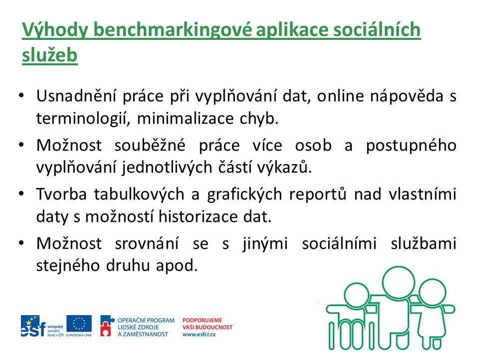 Výhody benchmarkingové aplikace sociálních služeb Usnadnění práce při vyplňování dat, online nápověda s terminologií, minimalizace chyb.