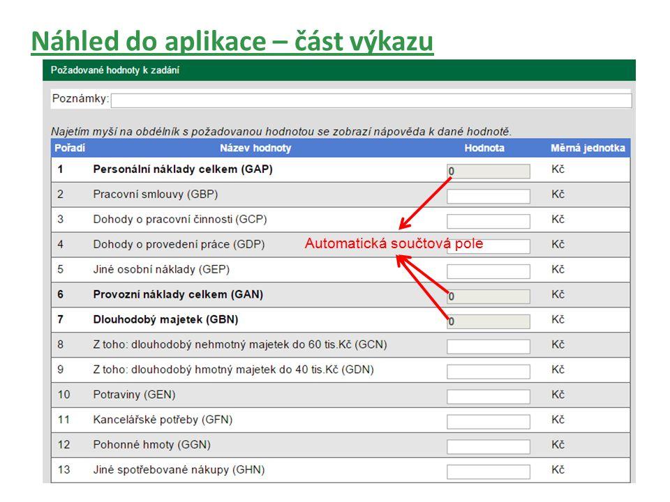 Náhled do aplikace – část výkazu Automatická součtová pole