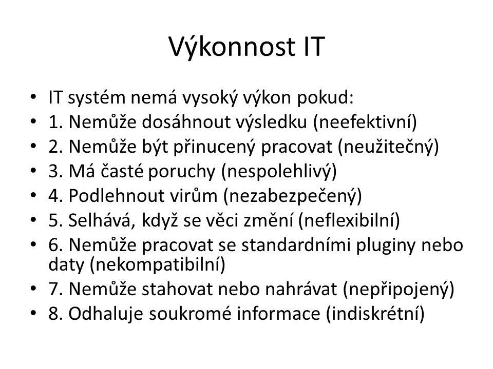 Výkonnost IT IT systém nemá vysoký výkon pokud: 1. Nemůže dosáhnout výsledku (neefektivní) 2. Nemůže být přinucený pracovat (neužitečný) 3. Má časté p