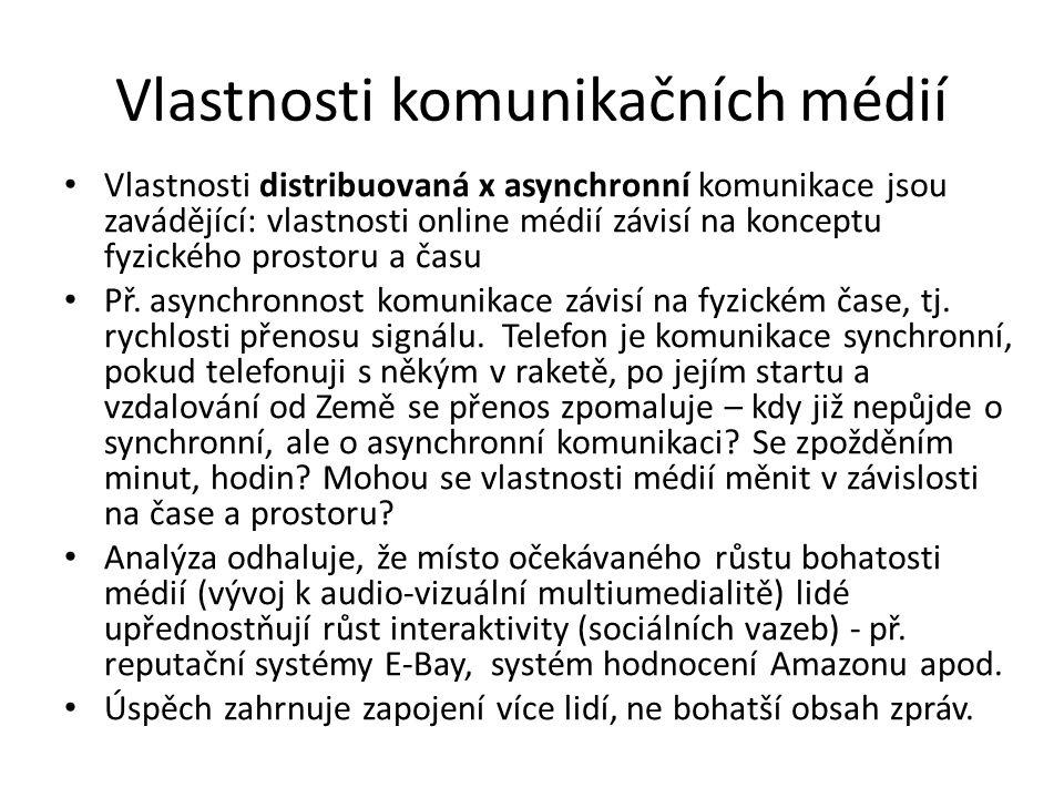 Vlastnosti komunikačních médií Vlastnosti distribuovaná x asynchronní komunikace jsou zavádějící: vlastnosti online médií závisí na konceptu fyzického