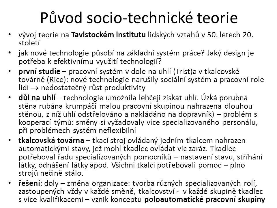 Původ socio-technické teorie vývoj teorie na Tavistockém institutu lidských vztahů v 50. letech 20. století jak nové technologie působí na základní sy