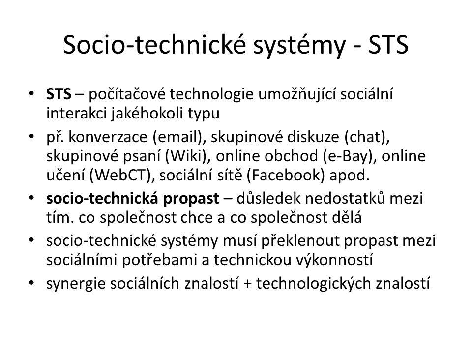 Socio-technické systémy - STS STS – počítačové technologie umožňující sociální interakci jakéhokoli typu př. konverzace (email), skupinové diskuze (ch
