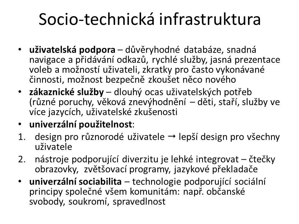 Socio-technická infrastruktura uživatelská podpora – důvěryhodné databáze, snadná navigace a přidávání odkazů, rychlé služby, jasná prezentace voleb a